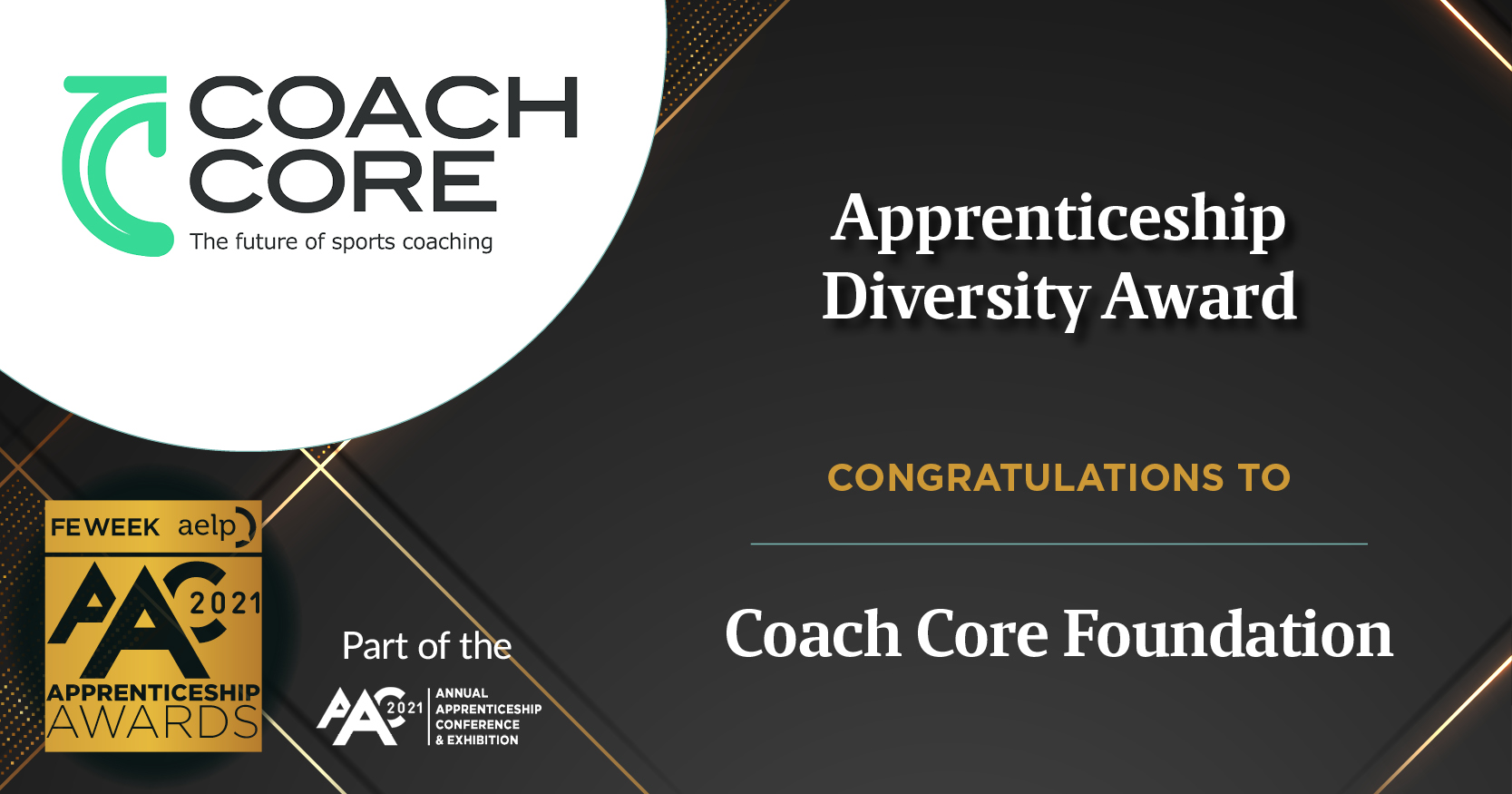 Apprenticeship Diversity Award banner with Coach Core's logo on it